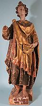17TH/18TH C CONTINENTAL POLYCHROME GILT GESSO & WOOD SCULPTURE