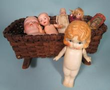 SIX ASSEMBLED VINTAGE & ANTIQUE DOLL GROUPING: