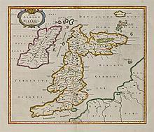 17th Century Map. Blaeu, Willem Janszoon. Insulae Albion et Hibernia