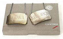 Silver decanter labels