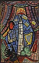 Evie Hone HRHA (1894-1955) MY FOUR GREEN FIELDS, NEW YORK - DESIGN FOR STAINED GLASS WINDOW, c.1937-1938