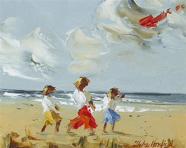 Thelma Mansfield (b.1949) CHILDREN WITH A RED KITE