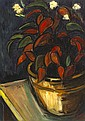 Peter Collis RHA (1929-2012) LARGE POT AND PLANT [BEGONIA]