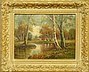 Moore, Thomas Manning [American, 19th/20th c.] oil on board painting of a New England autumn landscape with stream, signed l.r.
