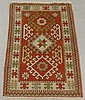 Kazak oriental hall mat with red field and overall geometric patterns, 3'2