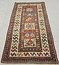 Fine colorful Kazak center hall runner with overall geometric patterns and a six-square block center. 7'8