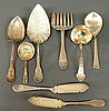Eight sterling silver serving pieces by various makers and in various patterns, largest 10.25