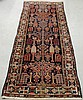 Hamadan oriental hall runner with a blue field and geometric patterns. 8'8