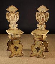 A Pair of Italian Painted Pine Sgabelli. The