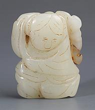 A WHITE JADE PENDANT FIGURE OF