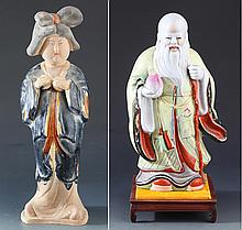 A COLORFUL PAINTED POTTERY AND PORCELAIN FIGURE