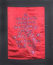 A RED COLOR FINELY EMBROIDERED SATIN