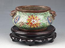 A COLORFUL CARVED CLOISONNÉ ENAMEL BRONZE CENSER