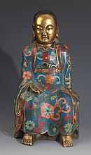 A FINELY CARVED CLOISONNÉ ENAMEL EMPEROR MODEL