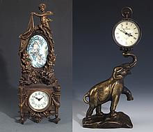 TWO FINELY MADE BRONZE TABLE CLOCK