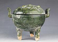 A VERY OLD GREEN COLOR PORCELAIN CENSER