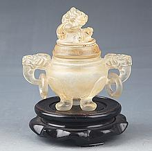 A SMALL FINELY CARVED CRYSTAL CENSER