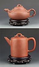 A GROUP OF TWO YIXING XIZHA TEAPOT