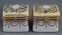 A GROUP OF FIVE FINELY PAINTED PORCELAIN MAKE UP BOX