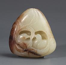 A WHITE JADE PENDANT CARVING OF MANDARIN DUCK