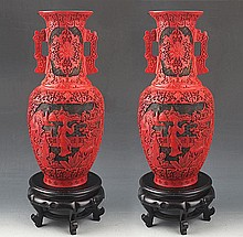 A PAIR OF FINELY CARVED CHINESE LACQUER JAR