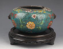 A FINELY CARVED CLOISONNÉ ENAMEL CENSER