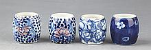 A GROUP OF FOUR BLUE AND WHITE PORCELAIN THUMB RING