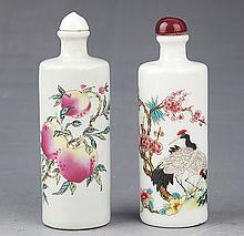 A PAIR OF FINELY PAINTED PORCELAIN SNUFF BOTTLE