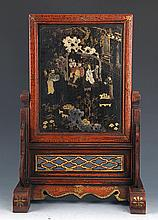 A FINELY PAINTED CHINESE LACQUER TABLE PLAQUE
