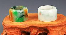A PAIR OF JADEITE THUMB RING