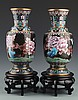 A PAIR OF LARGE ENAMEL PAINTED BRONZE FLOWER JAR