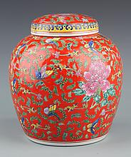 A RED COLOR FINELY PAINTED PORCELAIN JAR