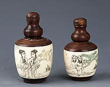 A PAIR OF BONE WITH WOOD FINELY CARVED SNUFF BOTTLE