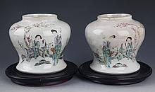 A PAIR OF FINELY PAINTED PORCELAIN JAR