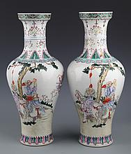 A PAIR OF FINELY PAINTED COLOR GLAZED PORCELAIN JAR