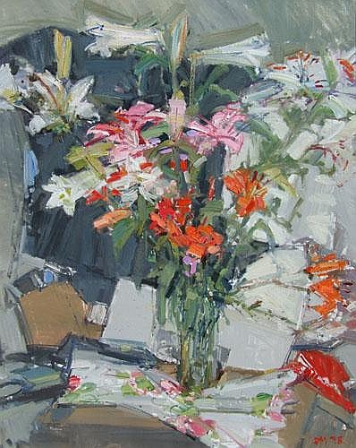 Don Mckinlay (1949-), Lilies, initialled and dated