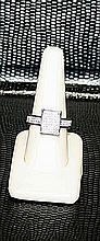 Lady's Very Fancy 18 kt White Gold over Sterling Silver Diamond Ring. JA2405