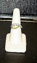 Lady's Very Fancy 18 kt White Gold over Sterling Silver Peridot & Tanzanite Ring. JA2407