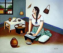 Original Oil on Canvas. Making Tortillas by Colville