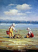 Original Oil on Canvas. Kids Building a Sandcastle by Rosa