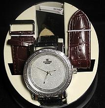 Men's Very Fancy Diamond Maxx Watch with exchangable Leather Strap. (427J)