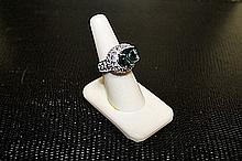 Lady's Very Fancy 18 kt White Gold over Sterling Silver Agate & Morganite Ring. JA2387