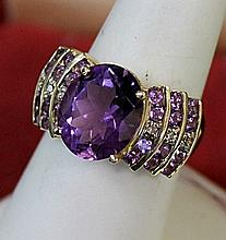 Lady's 10K Yellow Gold Amethyst/Diamond Ring (13)