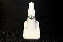 Lady's 14K Yellow Gold Emerald/Diamond Ring (16)