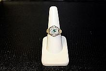 Lady's 10K Yellow Gold Lab Emerald/ Diamond Ring (32)