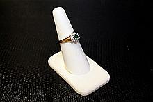 Lady's 10K Yellow Gold Lab Emerald/ Diamond Ring (42)