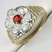 Lady's 10K Yellow Gold Garnet/ Diamond Ring (45)