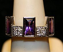 Fancy Tanzanites & White Topaz Sterling Silver Ring. (788L)