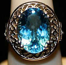 Fancy Tanzanites Sterling Silver Ring. (256L)