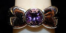 Beautiful Amethyst & White Topaz SS Ring. (183L)